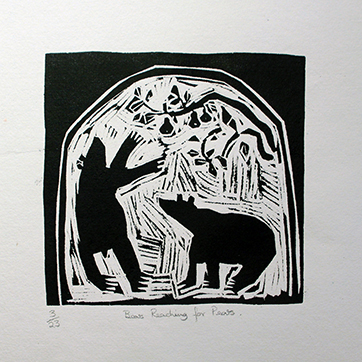 William Brown 'Bears Reaching for Pears' Woodblock. Edition of 23. 21cm x 21.5cm. £275 unframed
