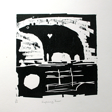 William Brown 'Exploring Bear'. Woodblock Edition of 23 21cm x 21.5cm. £275 unframed
