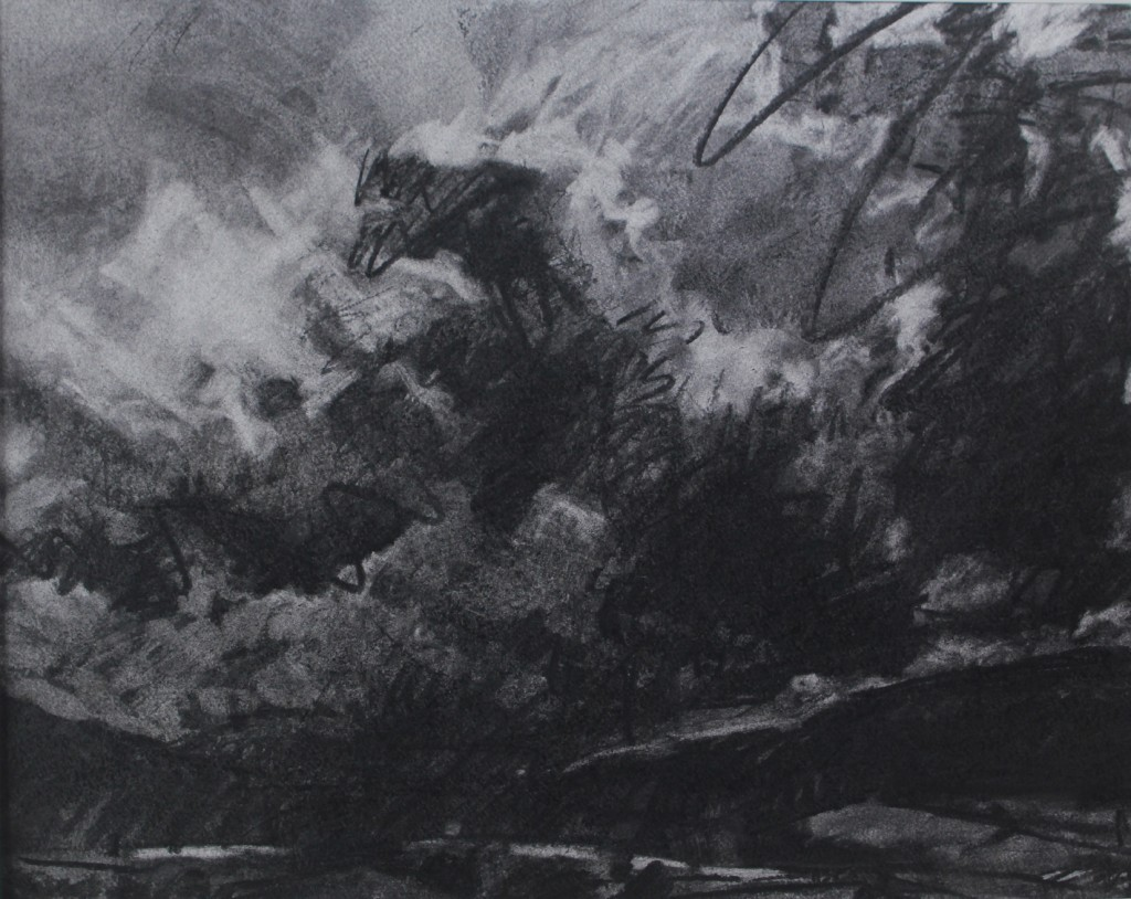 Summer, cloudy, mid wales. charcoal on paper 39 x 49cm