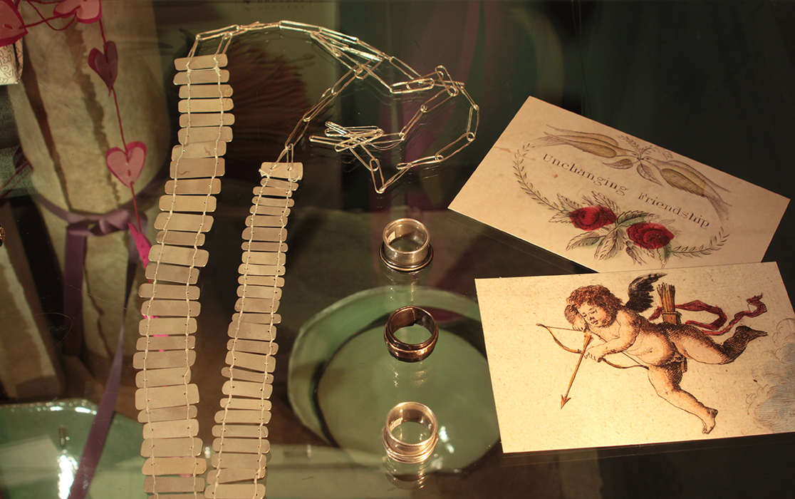 One-off SIlver jewellery pieces by Syann van Niftrik, John Derian postcards & just glimpsed below handmade earthenware ceramics by Clementina van der Walt.